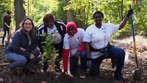 Volunteers at Sherrin Woods tree planting event